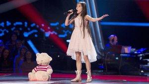 Melani, representante de España en Eurovisión Junior 2019, en el escenario de 'La voz kids' en Antena 3.