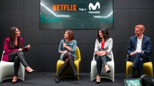 Isabel Vázquez, María Jesús Almazor, María Ferreras y Sergio Oslé, en la presentación del acuerdo entre Movistar+ y Netflix.