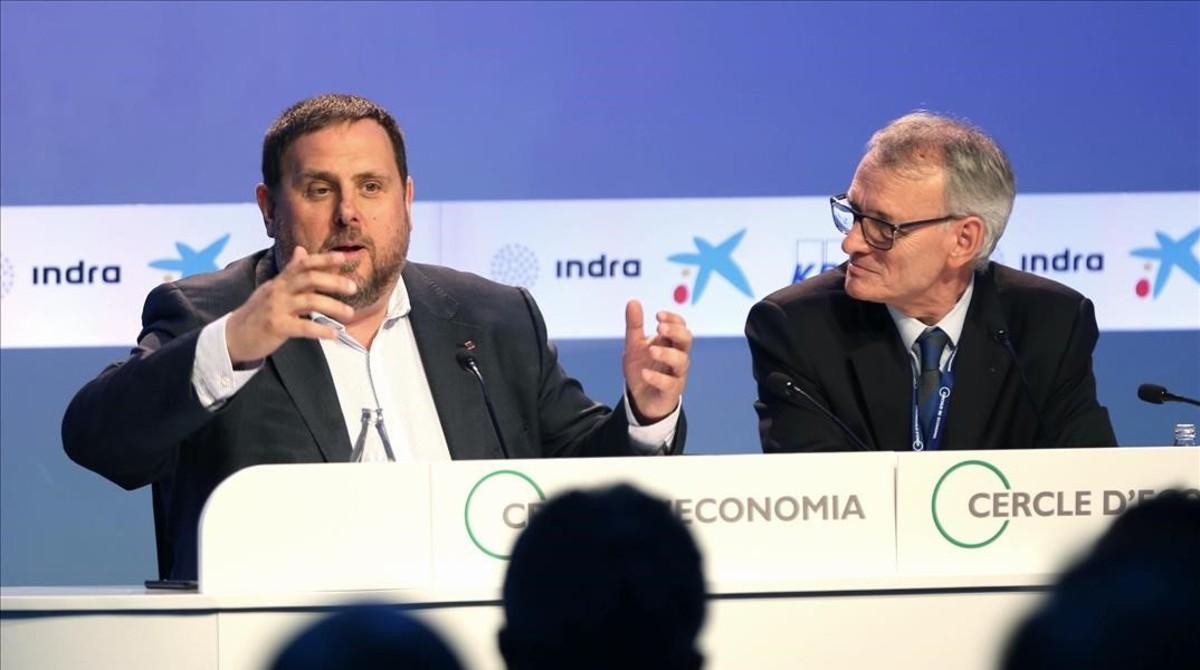Oriol Junqueras y Antón Costas, en las jornadas del Cercle d'Economia en Sitges.