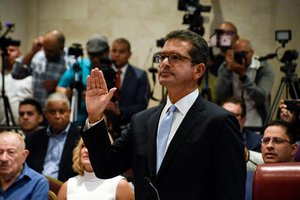 Pedro Pierluisi swears to attend his nomination as Secretary of State during a public hearing of the Commission of Government of the House of Representatives called upon by the President of the House Johnny Mendez hours before Ricardo Rossello steps down as Governor of Puerto Rico in San Juan Puerto Rico August 2 2019 REUTERS Gabriella N Baez