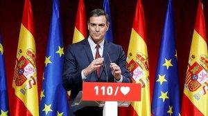 Pedro Sánchez durante la presentación de las 110 principales medidas de su programa electoral.