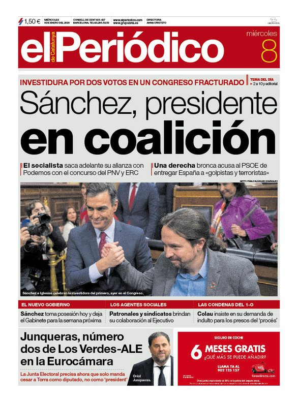 La portada de EL PERIÓDICO del 8 de enero del 2020.