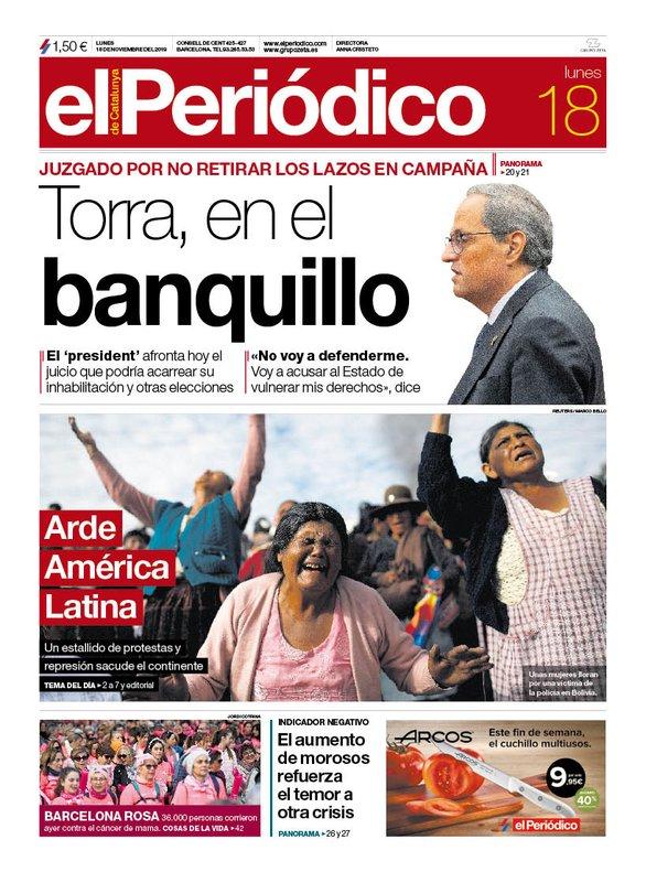 Portada de EL PERIÓDICO del 18 de noviembre de 2019.