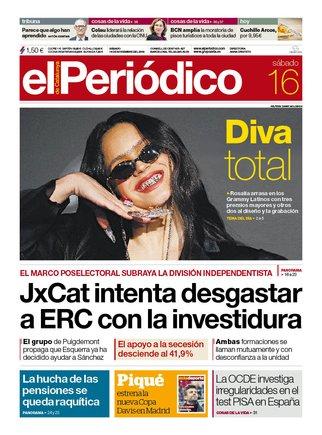 La portada de EL PERIÓDICO del 16 de noviembre del 2019.