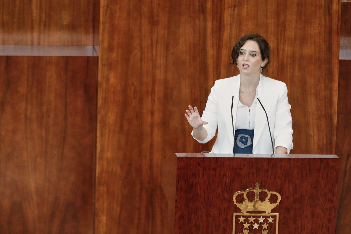 La presidenta madrileña, Isabel Díaz Ayuso, durante el debate del estado de la región, el pasado 15 de septiembre en la Asamblea autonómica.