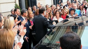 Rajoy, a su salida del Congreso de los Diputados.