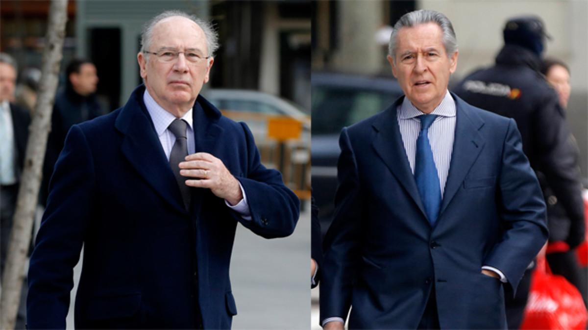 Rato y Blesa a su llegada a la Audiencia Nacional.