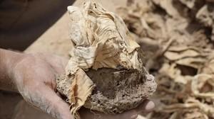 El corazón momificado de Ipi, descubierto en una cámara con un depósito con materiales para la momificación hallada por una misión de arqueólogos españoles en Luxor.