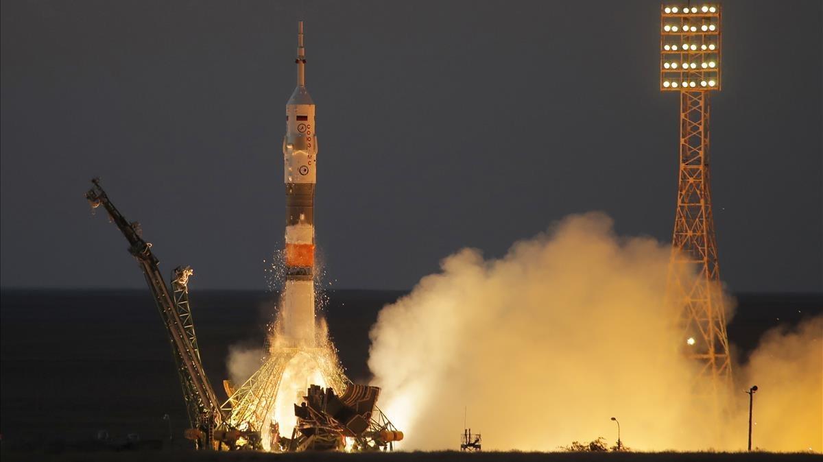 La Soyuz despega para llevar astronautas a la estación espacial internacional, el pasado 28 de julio.