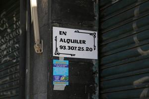 Anuncio de piso en alquiler en Barcelona.