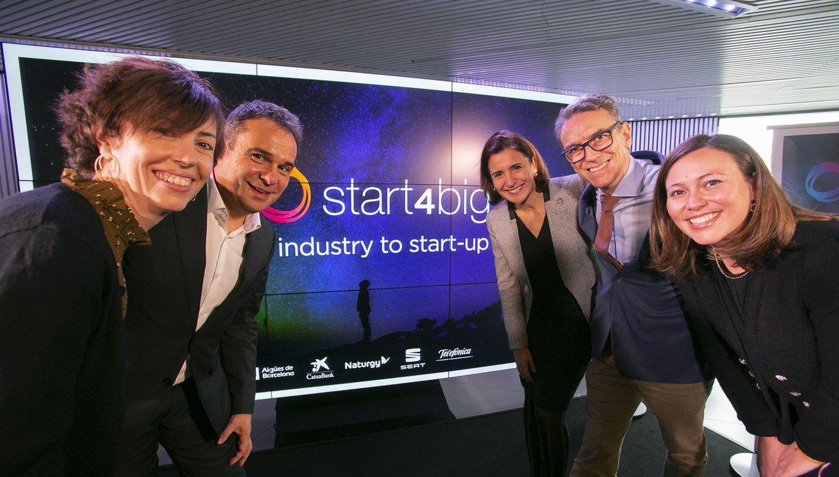 La alianza formada por Aigües de BCN, Caixabank, Naturgy, Seat y Telefónica presentan las cinco 'start-ups' escogidas este 2019 para su programa de colaboración.