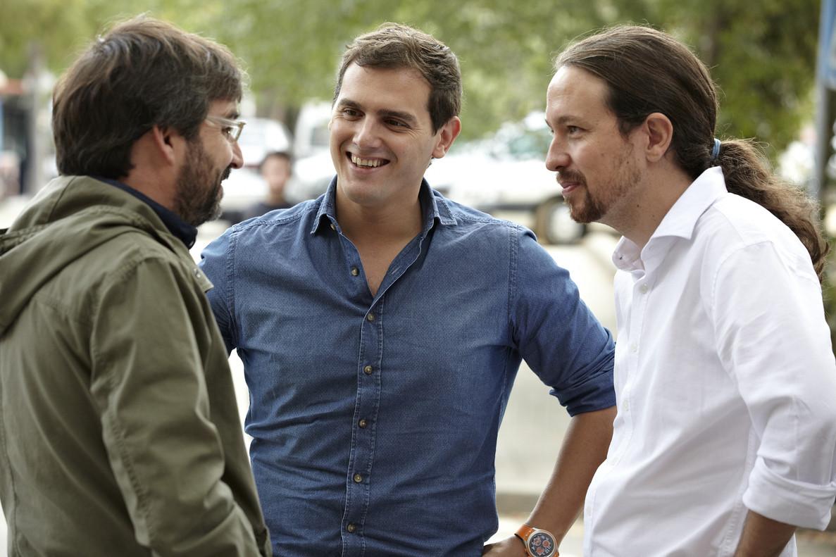 Jordi Évole, Albert Rivera y Pablo Iglesias.