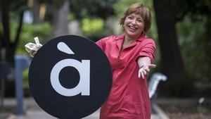 Empar Marco,directora general de À Punt, en la presentación del logo de la nueva tele autonómica valenciana.