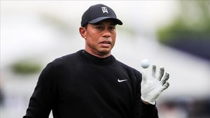 Tiger Woods durante una práctica previo al PGA Championship.