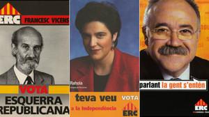 Tres de los carteles con los que ERC concurrió a las elecciones generales.