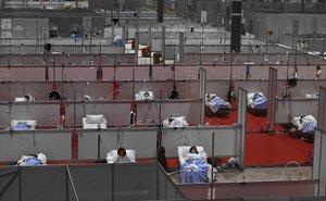 El interior del hospital provisional montado en el recinto ferial de Madrid, el pasado 3 de abril, cuando arreciaba la pandemia.