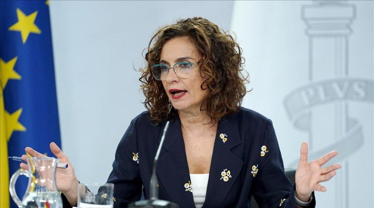 La portavoz del Gobierno, María Jesús Montero, este viernes en la Moncloa, tras el Consejo de Ministros.