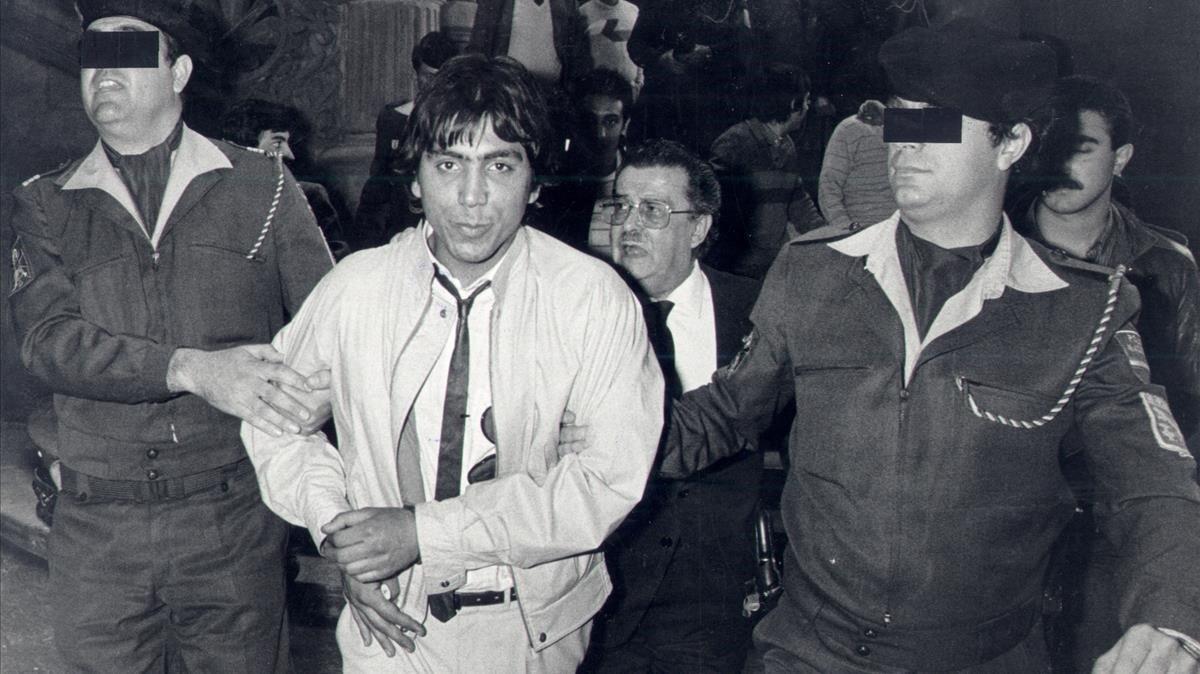 Juan José Moreno Cuenca, El Vaquilla, símbolo de la Barcelona quinqui de los años 80 (en la foto, en 1985).