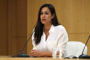 La vicelacaldesa de Madrid, Begoña Villacís, durante una rueda de prensa.