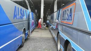 Autobuses de a de flota de Alsa.