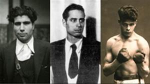 De izquierda a derecha, el líder de la CNT Mariano Rodríguez Vázquez, el cartelista Helios Gómez, y el boxeador Johan Trollmann.