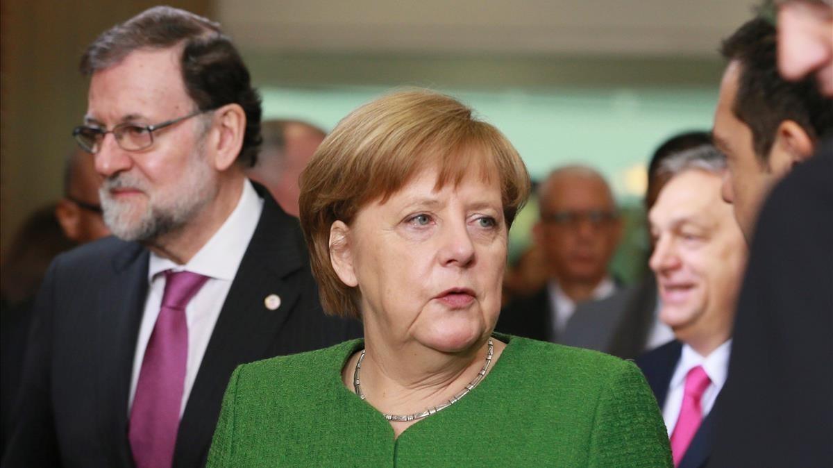 La cancillera alemana, Angela Merkel, en una conferencia organizada por la Comisión Europea.