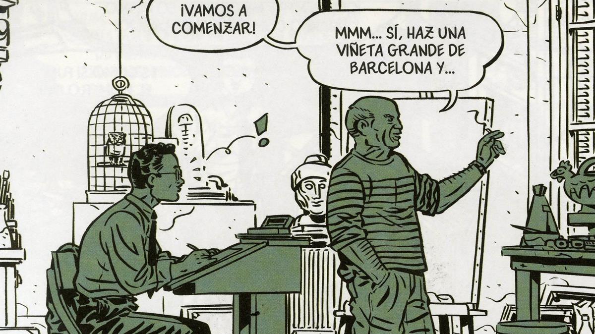 Viñeta de Picasso en la guerra civil, con el artista malagueño y el dibujante al que le encarga una historieta.