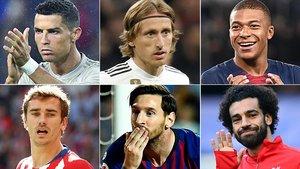 Cristiano Ronaldo, Modric, Mbappé, Griezmann, Messi y Salah, principales candidatos al Balón de Oro.