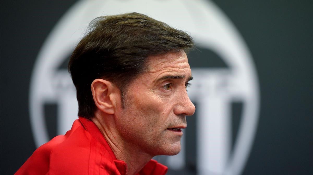Marcelino, entrenador del Valencia, en la víspera del Arsenal.