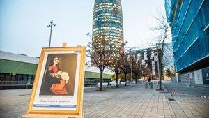 Campaña en favor del museo Hermitage en la Barceloneta.