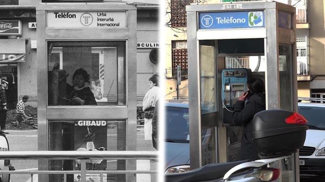 Esta es la última cabina telefónica de Barcelona.