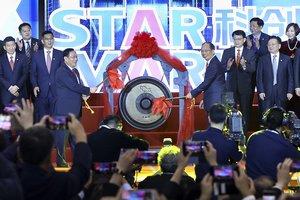 Momento de la apertura del mercado tecnológico de la Bolsa de Shanghái, el Star Market.