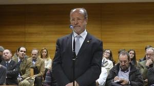 El alcalde de Valladolid, Francisco Javier León de la Riva, en el juicio por desobediencia que se celebró el pasado 27 de abril.