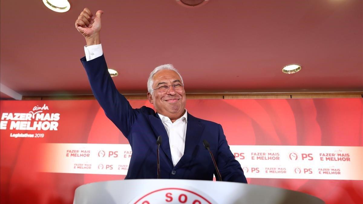 António Costa en la noche electoral.