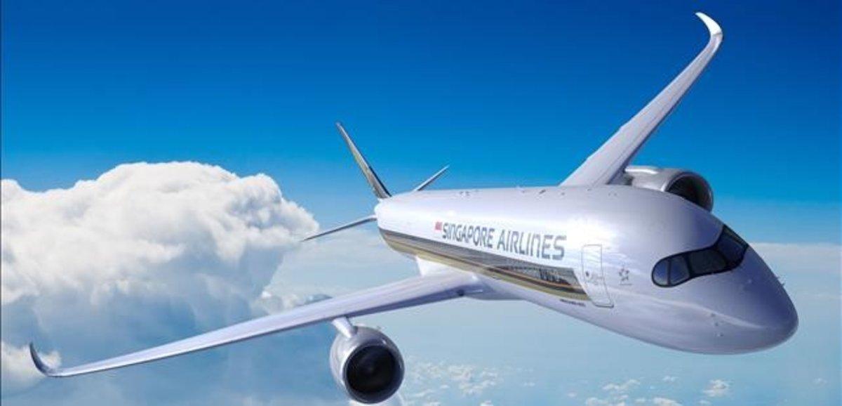 Un avión Airbus A350-900ULR de Singapor Airlines.