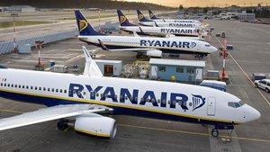 Aviones de Ryanair en el aeropuerto deMadrid.