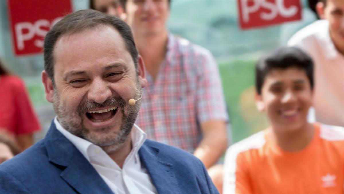 El ministro de Fomento, José Luís Ábalos, en un acto de los socialistas catalanes en LHospitalet de Llobregat, este sábado.