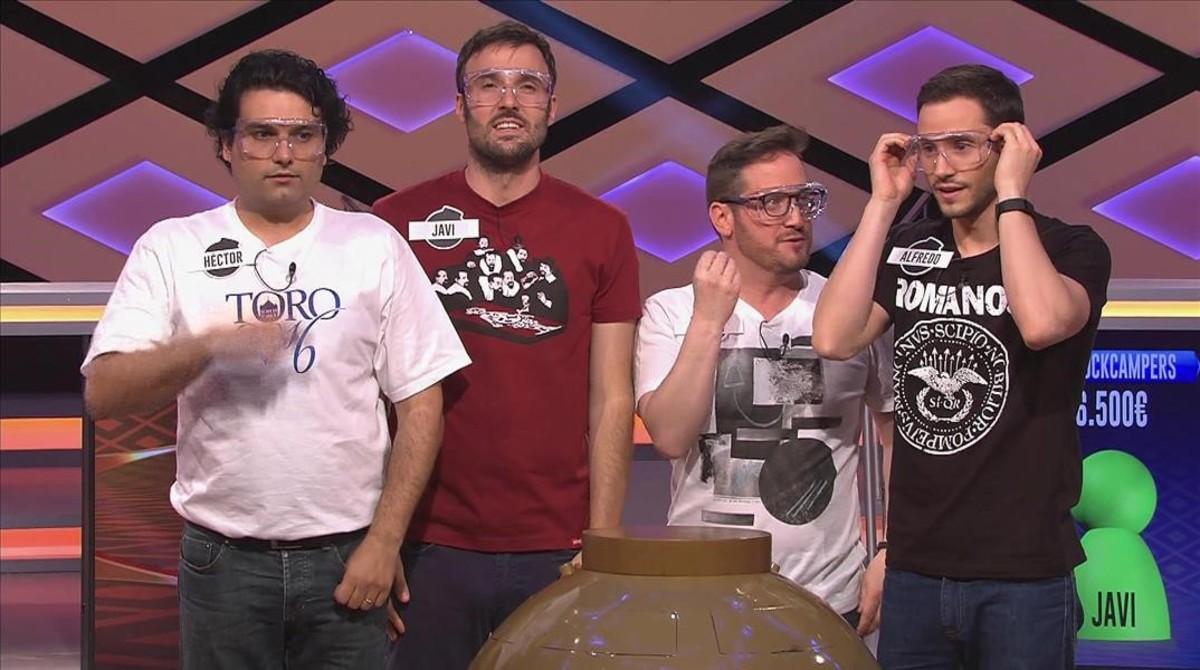 Héctor Miguel Paramio,Javier Miralles,Rubén Calvo y Alfredo Mayo, en el plató de ¡Boom!