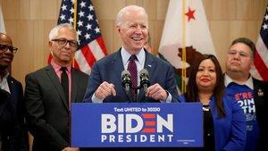El candidato demócrata Joe Biden, en una rueda de prensa el pasado 4 de marzo.