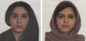 NY101. NUEVA YORK (NY, EE. UU.), 31/10/2018. Fotografía cedida por el Departamento de Policía de la Ciudad de Nueva York (NYPD) hoy, miércoles 31 de octubre de 2018, que muestra a las hermanas Tala Farea (i) y Rotana Farea (d). La policía de Nueva York está investigando la muerte de las hermanas Tala Farea, de 16 años, y Rotana Farea, de 22 años, de Arabia Saudita, cuyos cuerpos completamente vestidos, atados con cinta adhesiva, en las orillas del río Hudson en Manhattan en la ciudad de Nueva York el pasado 24 de octubre. Las hermanas, que vivían en Fairfax, Virginia, fueron reportadas como desaparecidas en agosto. EFE/Cortesía NYPD/SOLO USO EDITORIAL/NO VENTAS