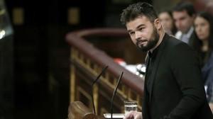 El dirigente deERC Gabriel Rufián, en la tribuna del Congreso.