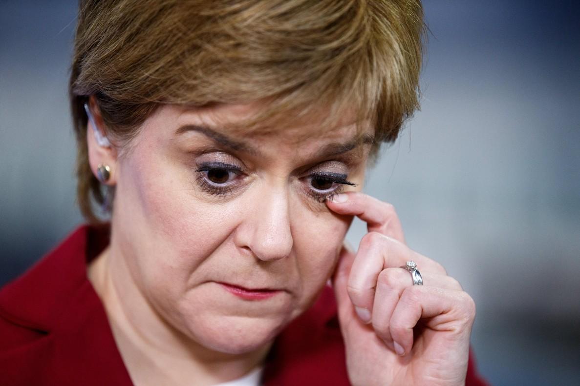 La líder del Partido Nacional Escocés (SNP), Nicola Sturgeon, tras conocer los resultados.