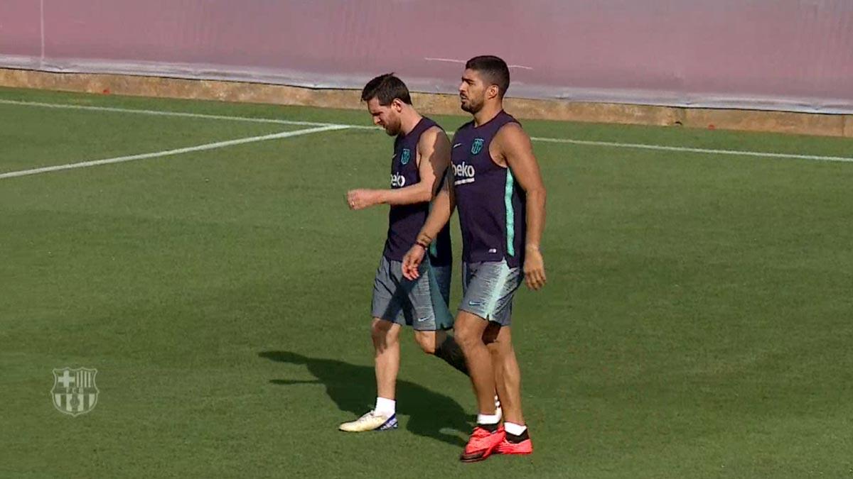 Entrenamiento de recuperación del Barça sin Piqué, que ha viajado a Orlando.