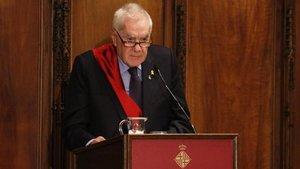 Ernest Maragall, durante su intervención, en el pleno de constitución del Ayuntamiento de Barcelona.