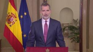 Felipe VI a su mensaje a la nación ante la crisis sanitaria por el coronavirus.