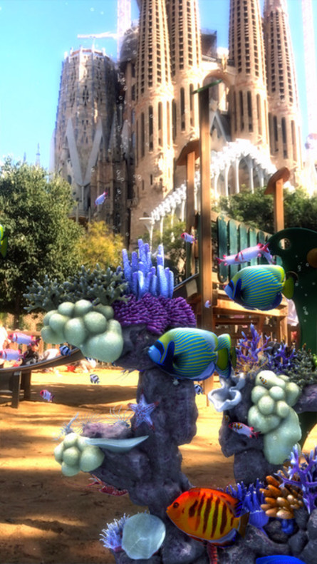 Escena defishinggo en la Sagrada Familia de Barcelona