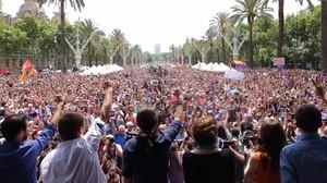 Mítin de En Comú Podem en Barcelona durante la campanya del 26-J del 2016.