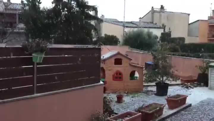 Imagen de la nevada en Llagostera