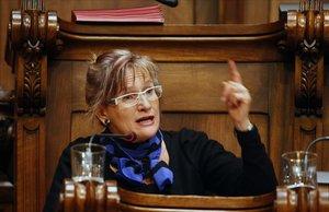 Imma Mayol, en un pleno del Ayuntamiento de Barcelona durante su etapa de concejala de ICV.