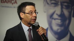 Josep Maria Bartomeu, candidato a la presidencia del Barça, durante una intervención.